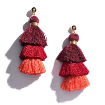 Tiered Ombre Tassel Earrings in Red